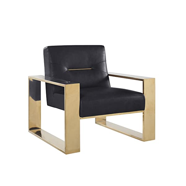 Iconic Home Colton Modern Contemporary Sculptural Polished Brass - Finished Stainless Steel Leatherette Accent Chair, Black