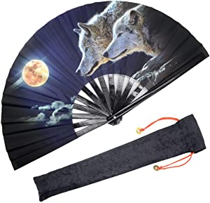 OMyTea Large Rave Folding Hand Fan for Men/Women - Chinese/Japanese Kung Fu Tai Chi Handheld Fan with Fabric Case - for Performance/Wall Decorations/Dancing/Festival/Gift (Full Wolf Moon)