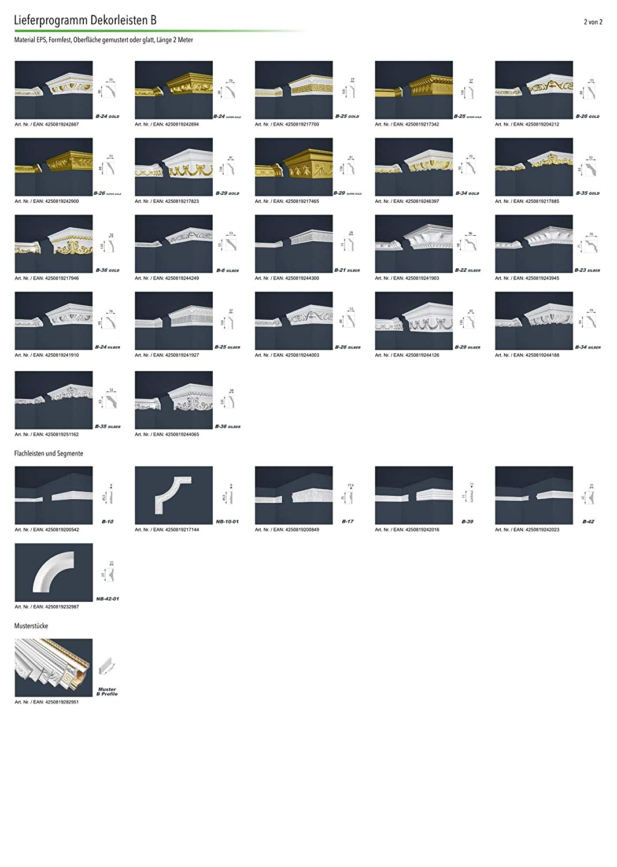 70x136mm EPS Stuckprofil B-38 formfest 10 Meter Marbet