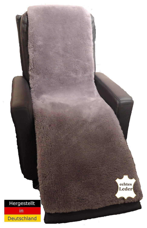 lanabest Mouton Coussin pour fauteuil – Prestige. Véritable laine mérinos en gris. Doux - chaud et Noble presque