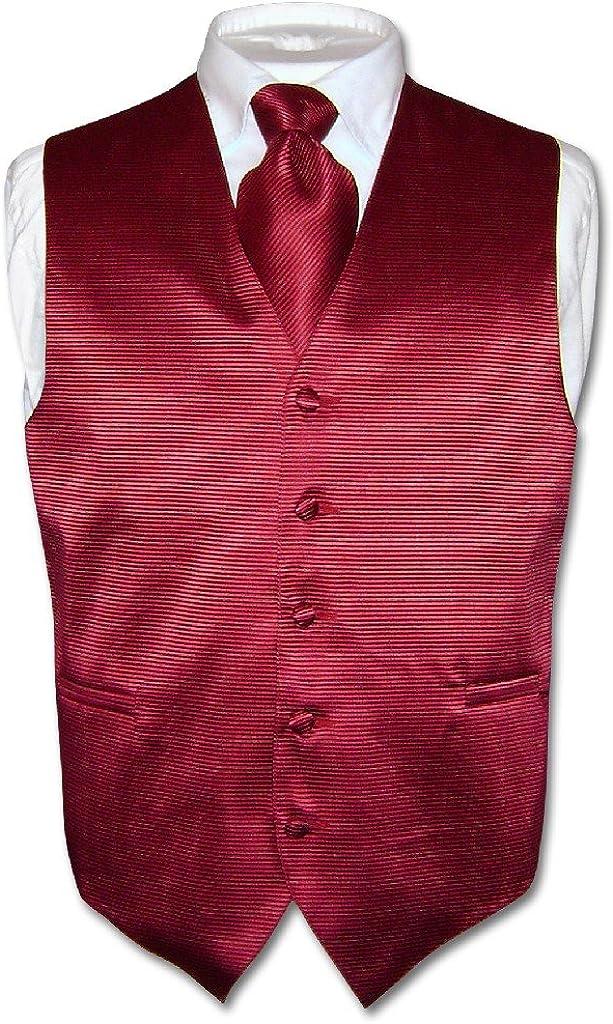 Mens Dress Vest /& BOWTie Burgundy Red Woven BOW Tie Horizontal Stripe Set