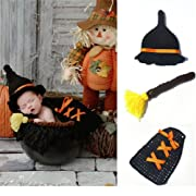Oliviabeauty Newborn Baby Girl Boy Cute Knit Hat Costume Photography Prop Outfit Set (Black-Wizard)