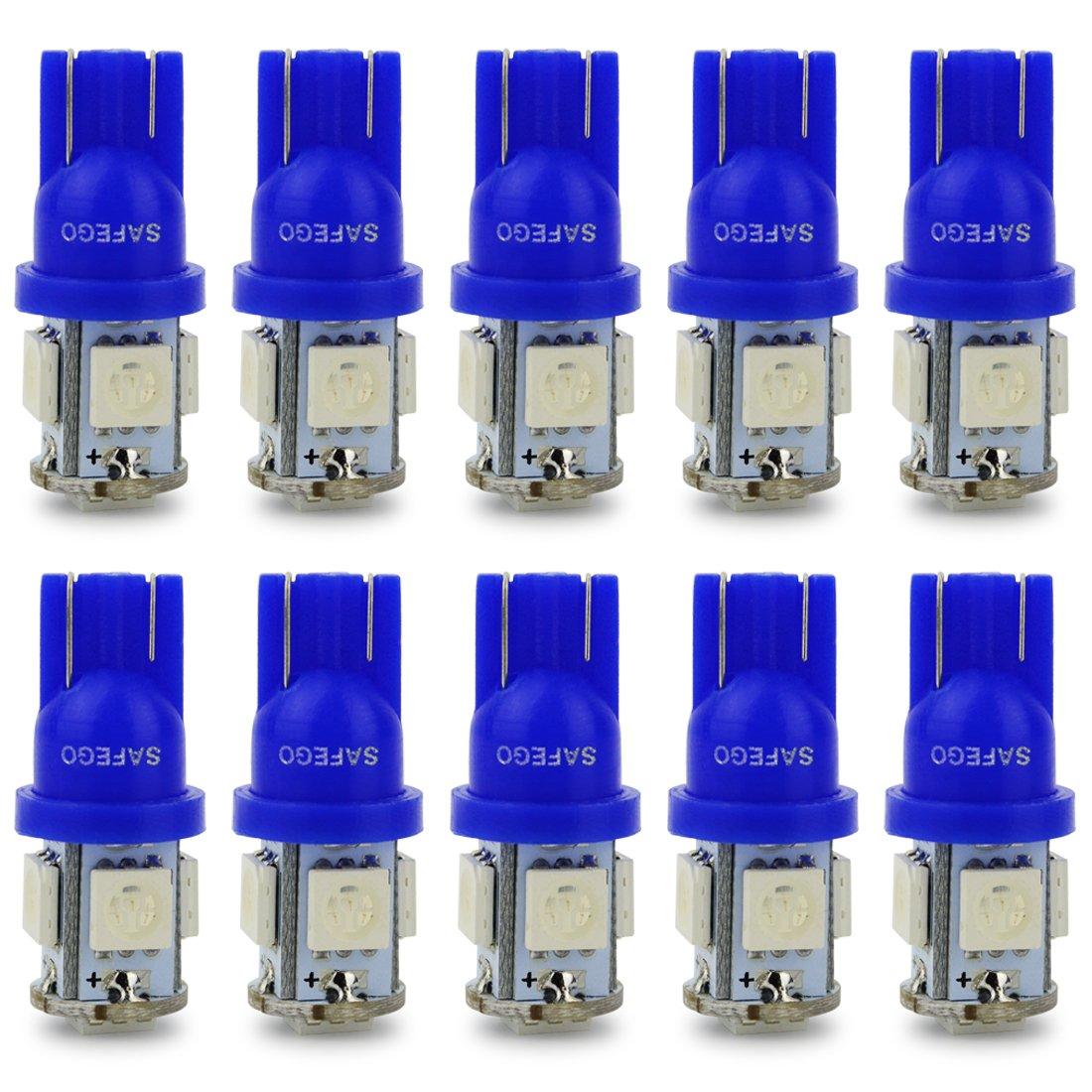 Safego 10x T10 W5W azul LED Bombillas exteriores 5 SMD 5050 Luz Coche trasera Lámpara Luz de interior 194 168 T10 Wedge Lampara para Coches luces de ...
