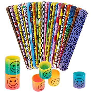 INTVN Pulsera Bofetada SlapBracelets & Resortes Juguete Mini Smile Springs Fiestas Favores regalos de cumpleaños para niños, 24 Sets