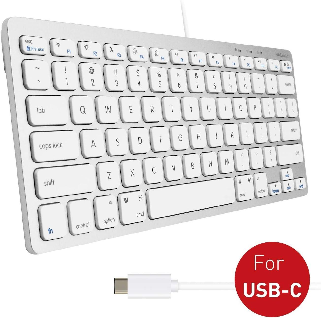 Macally Mini USB C Keyboard - Plug & Play Compact Keyboard for Mac, Windows, iPad, Android with USB C Port - 78 Scissor Switch Keycaps & 13 Shortcut Keys - Convenient & Small USB Type C Keyboard