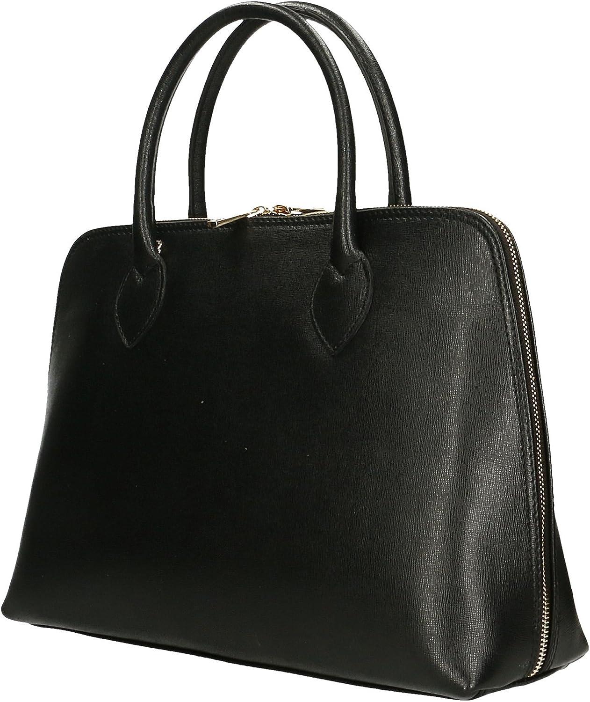 Aren - sac à main femme en cuir véritable fabriqué en italie - 37x27x12 Cm Noir