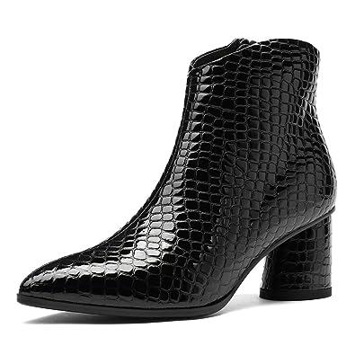 de48c606df9 AnMengXinLing Fashion Ankle Boots Women Block High Heel Platform Patent  Leather Pointed Toe Side Zip Cowboy Booties