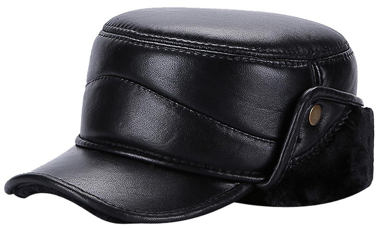 La Vogue-Cappello in Pelle Uomo Spessore Earflap Berretto Lei Feng Protezione Caldo Sci Cappuccio