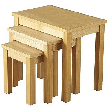 LPD Furniture Oakridge Nest Of 3 Tables, In Oak