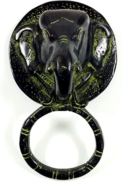 Poign/ée de Porte Elefant Noir 14,5x5x6,5 cm Guru-Shop Heurtoir Indien Poign/ées de Meubles Ferrures