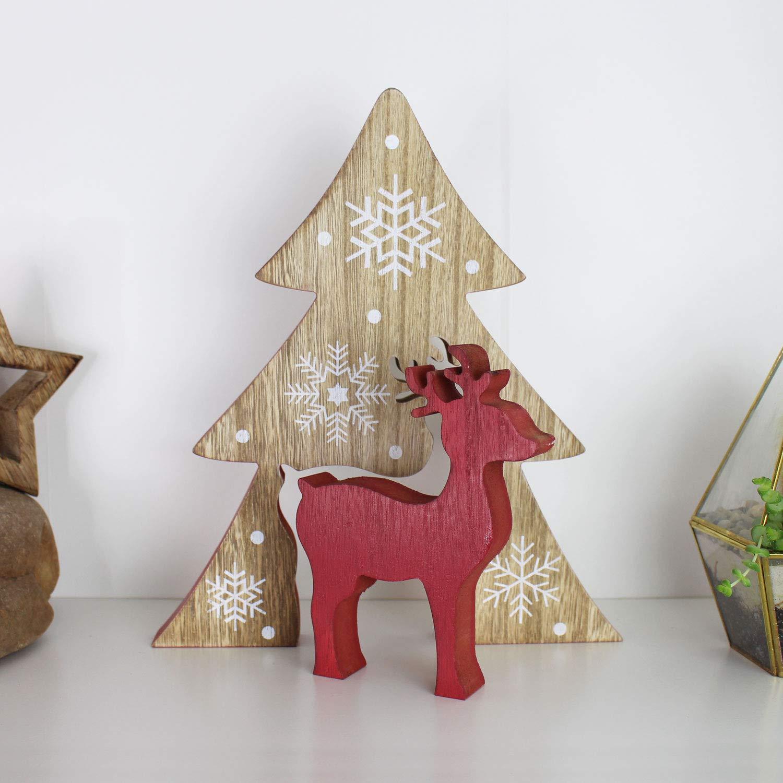 Wann Kann Man Weihnachtsdeko Aufstellen.Hirsch Mit Tanne Rot Weihnachtsdeko Aus Holz Handarbeit Deko