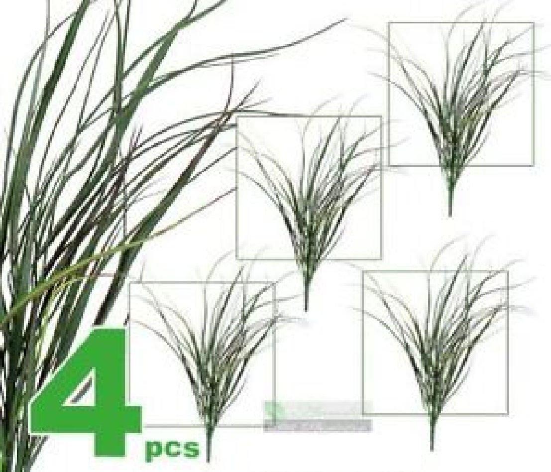 FOUR 35'' Long Grass Bush Artificial Plants 037GRD by Black Decor Home