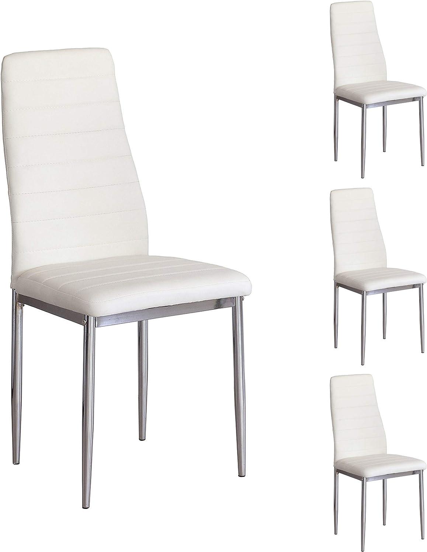 Pack de 4 SILLAS de Comedor Básica, tapizada Polipiel y Patas cromadas (Blanco)