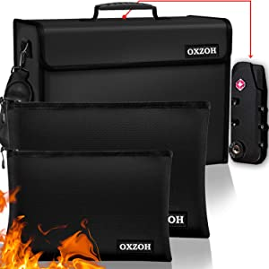 Fireproof Bag with Lock (TSA Approved) | Fireproof Document Bags XXXL Size (17 x 12 x 6 inch), A4 & A5 Size | Waterproof Fireproof Document Box | Firebox for Document Storage | Firebag Safe (3)