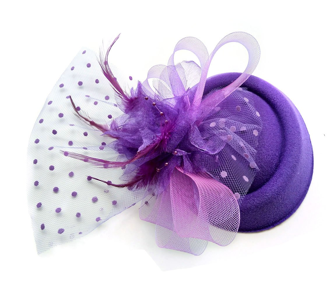 Women Fascinators Hair Clip Headband Hoop Veil Wool Flower Hat Derby Cocktail Party (Purple)