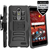 ZTE Blade Spark Case With Screen Protector,IDEA LINE(TM) Heavy Duty Armor Shock Proof Dual Layer Holster Locking Belt Swivel Clip with Kick Stand - Black
