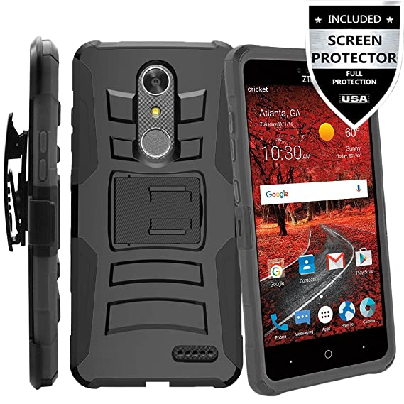 timeless design ff4d3 bac33 ZTE Blade Spark Case With HD Screen Protector,IDEA LINE(TM) Heavy Duty  Armor Shock Proof Dual Layer Holster Locking Belt Swivel Clip with Kick  Stand - ...