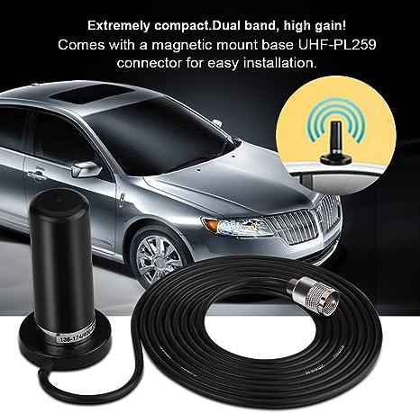 Antenna Radio VHF//UHF Dual Band per Veicoli con Connettore per Cavo di Montaggio Magnetico UHF-PL259 Giallo Mugast Antenna Radio