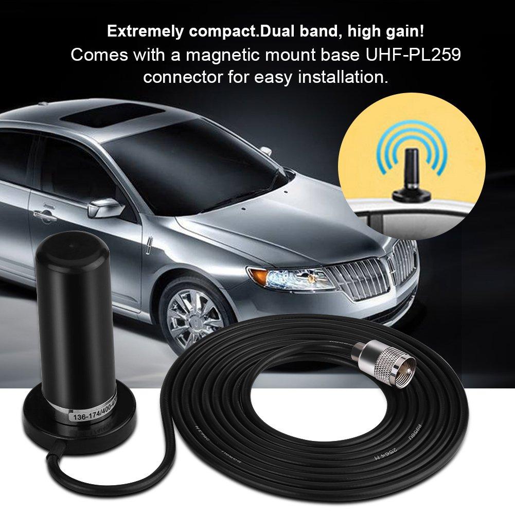 Antenne Radio Voiture Double Bande avec Base de Montage Magn/étique Mavis Laven Antenne VHF UHF Voiture