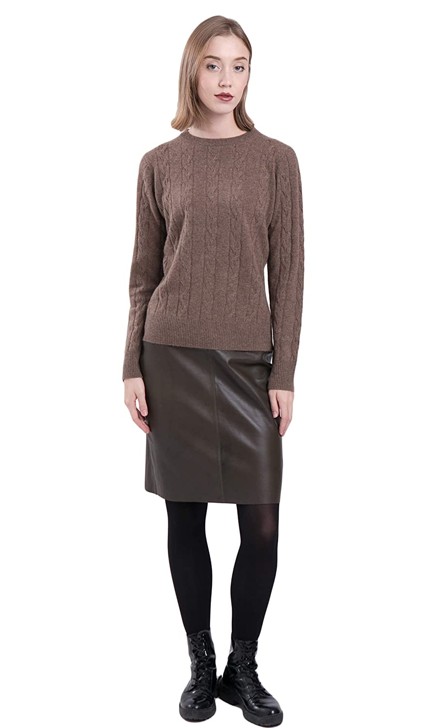 LEBAC Women 100/% Cashmere Crew Neck Sweater Cable Knit Long Sleeve Pullover
