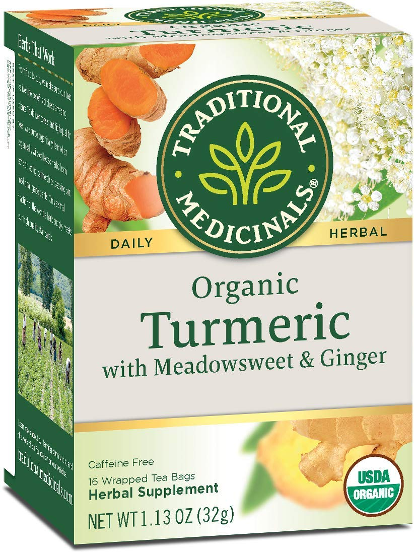 Traditional Medicinals Organic Turmeric with Meadowsweet & Ginger Herbal Leaf Tea, 16 Tea Bags