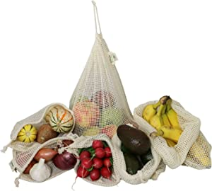 Simple Ecology Reusable Produce Shopping and Storage Bags, Drawstring, Washable Organic Cotton Mesh, Set of 6 with 2 ea. L, M, S