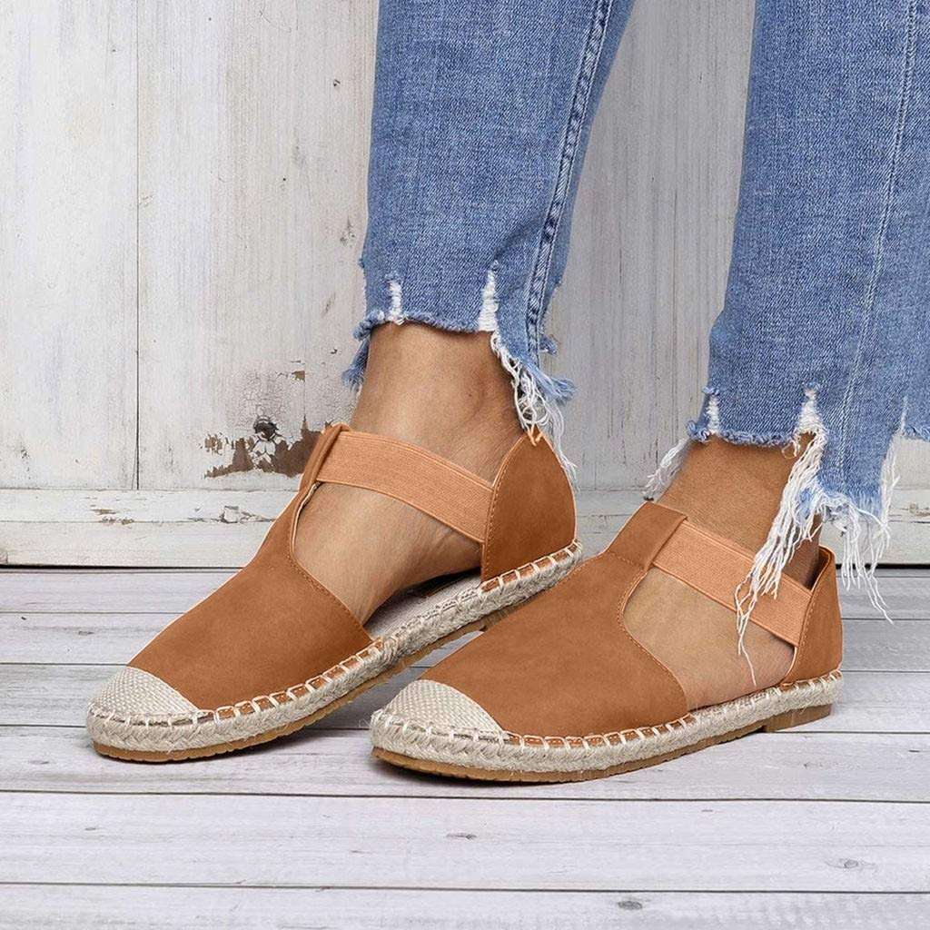 Women's Foreign Trade Large Size Retro Wind Flat Sandals Women's Fashion Round Head Casual Shoes Brown by Lloopyting (Image #4)