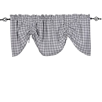 Home Collections by Raghu 72x36 Houndstooth Gray-Black Gathered Valance