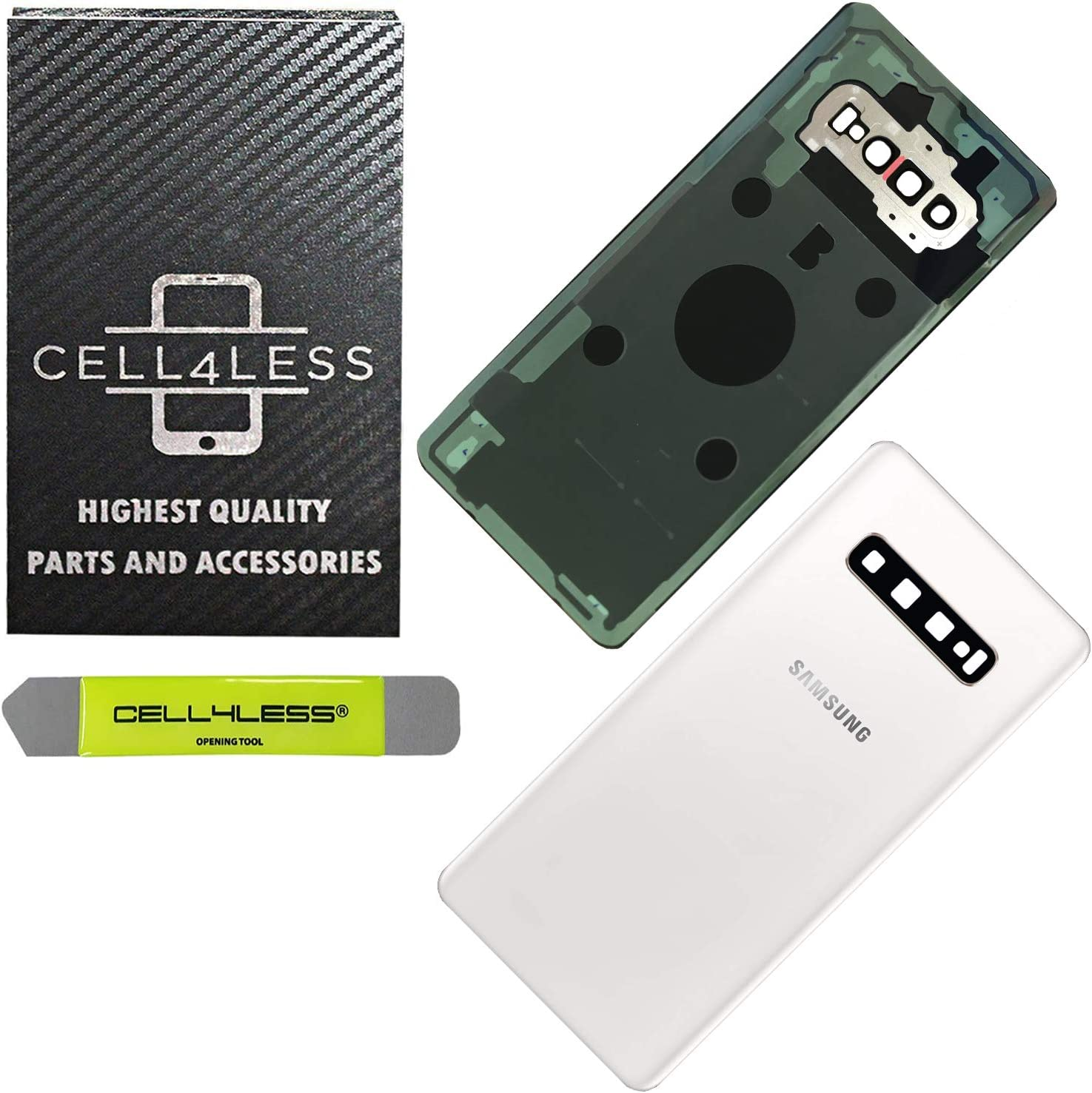 CELL4LESS Back Glass Replacement for The Galaxy S10+ Plus Model SM-G975 Including Camera Frame, Lens, Removal Tool (Ceramic White)