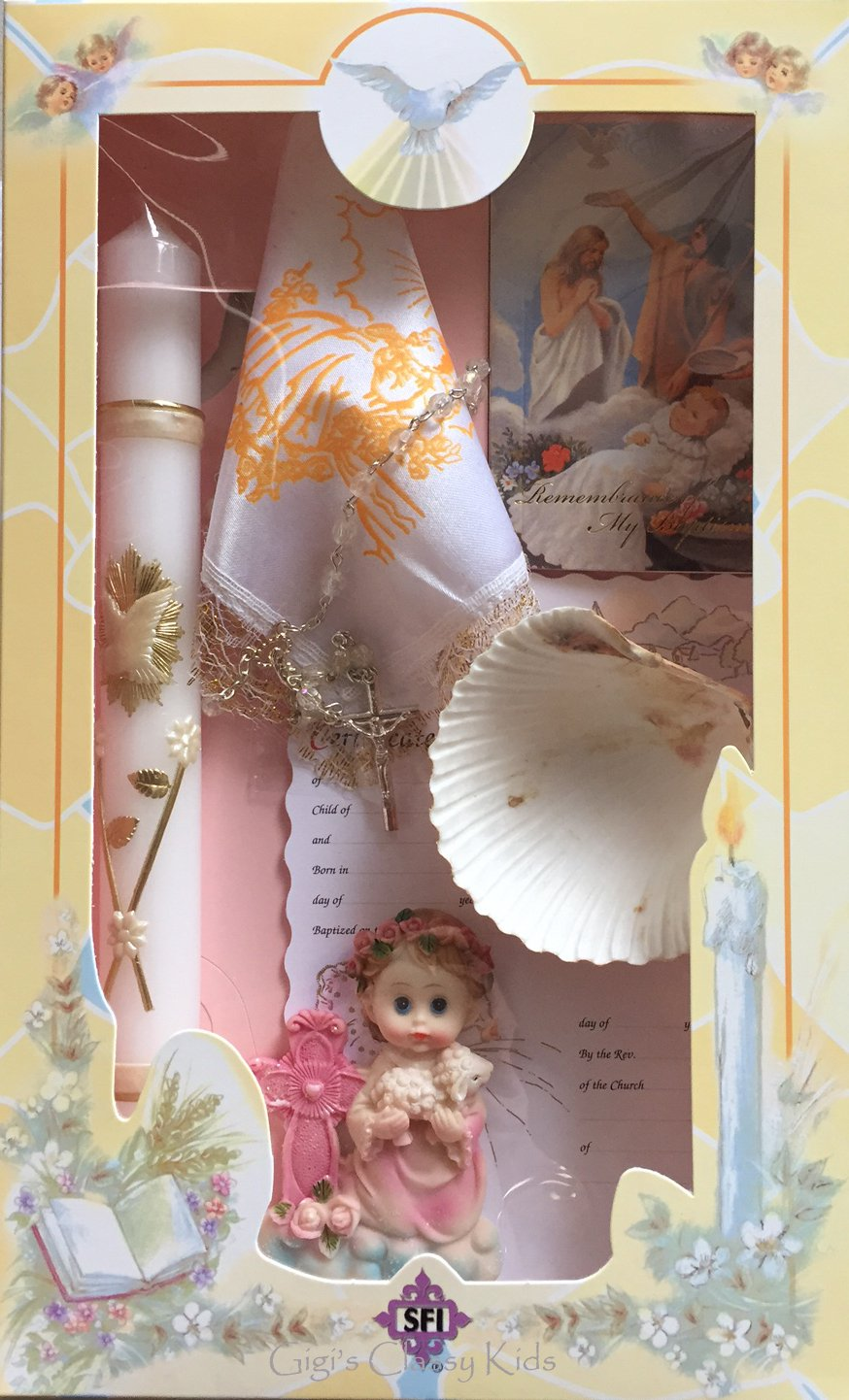 New Girl's Complete Baptism Christening Candle Set English Missal Gift Boxed