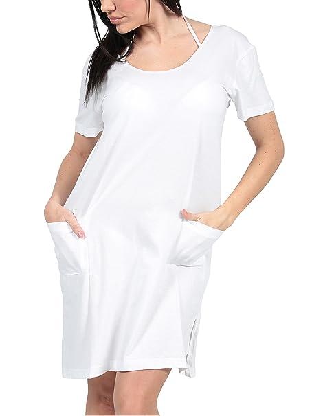 306a31306ca Ingear Beach Short Cotton Dress Summer Shift Tee Dress Cover up (Medium