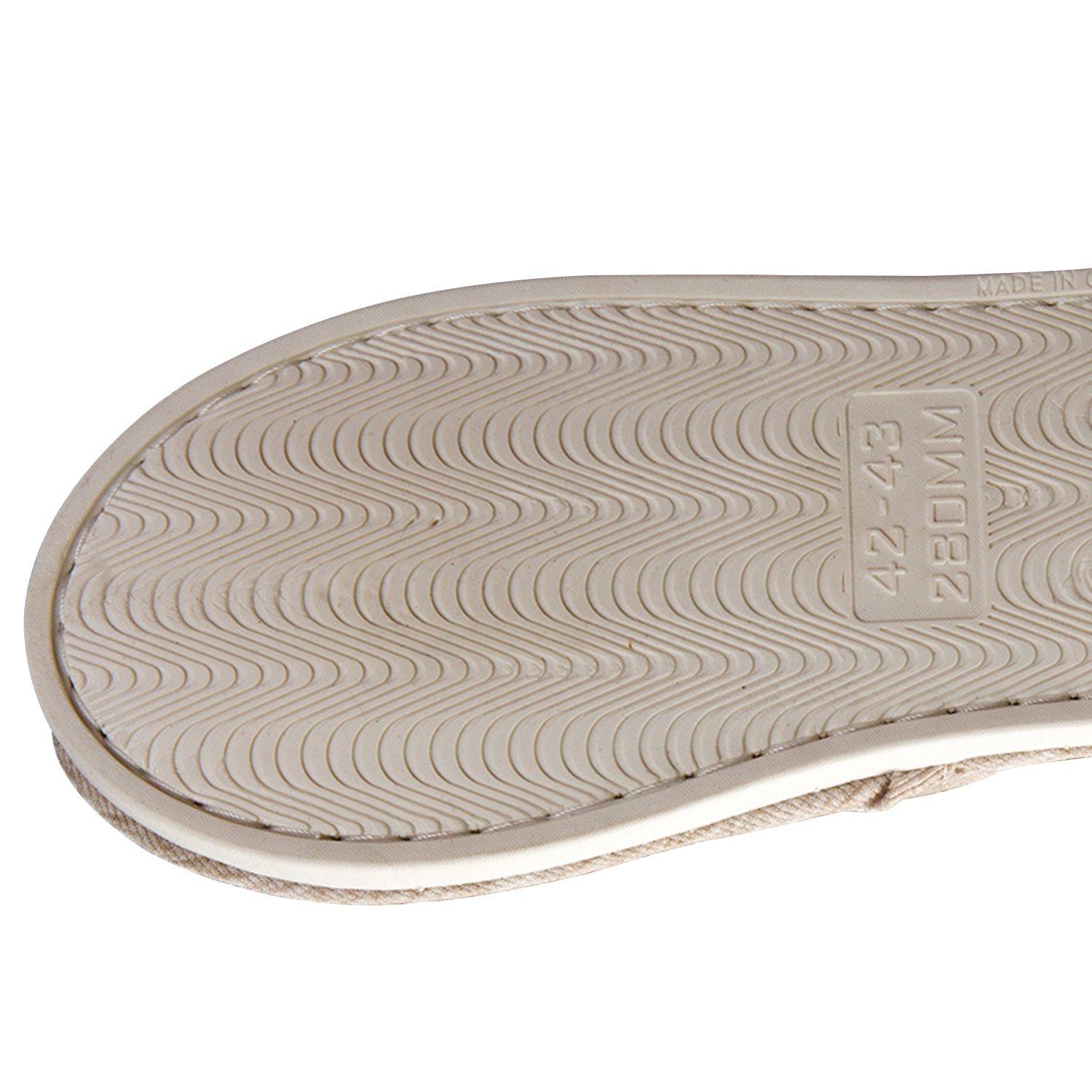 ONCAI Men's Cotton Linen Couple House Slipper Open Toe Terry Slipper (9-10.5 D(M) US, Gray-2) by ONCAI (Image #6)