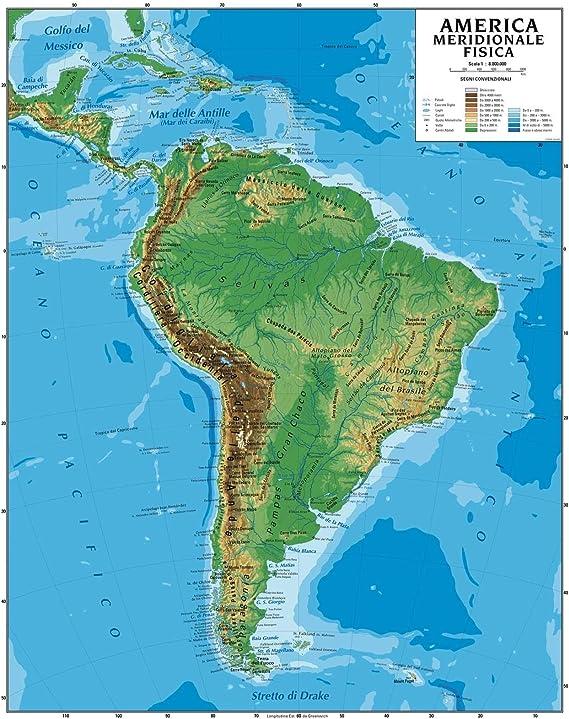 Cartina Muta Delle Americhe.Carta Geografica Murale America Meridionale 100x140 Bifacciale Fisica E Politica Amazon It Cancelleria E Prodotti Per Ufficio