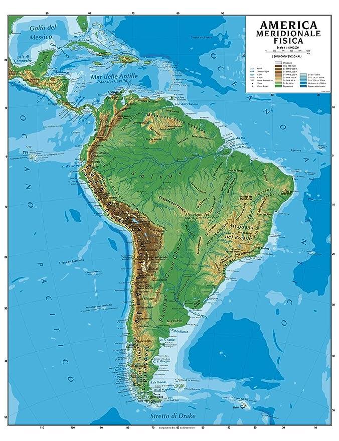 Cartina Geografica Dell America Del Sud.Carta Geografica Murale America Meridionale 100x140 Bifacciale