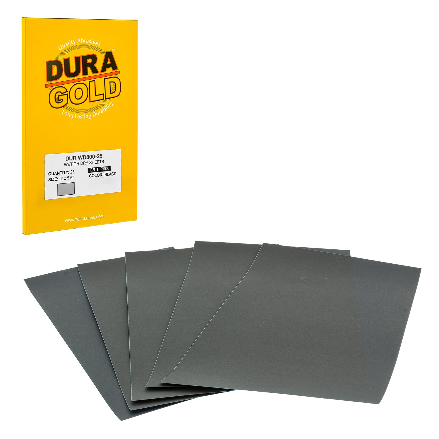 Premium Color Sanding and Polishing for Automotive and Woodworking 400 Grit Box of 25 Sandpaper Finishing Sheets Wet or Dry Dura-Gold Professional cut to 5-1//2 x 9 Sheets