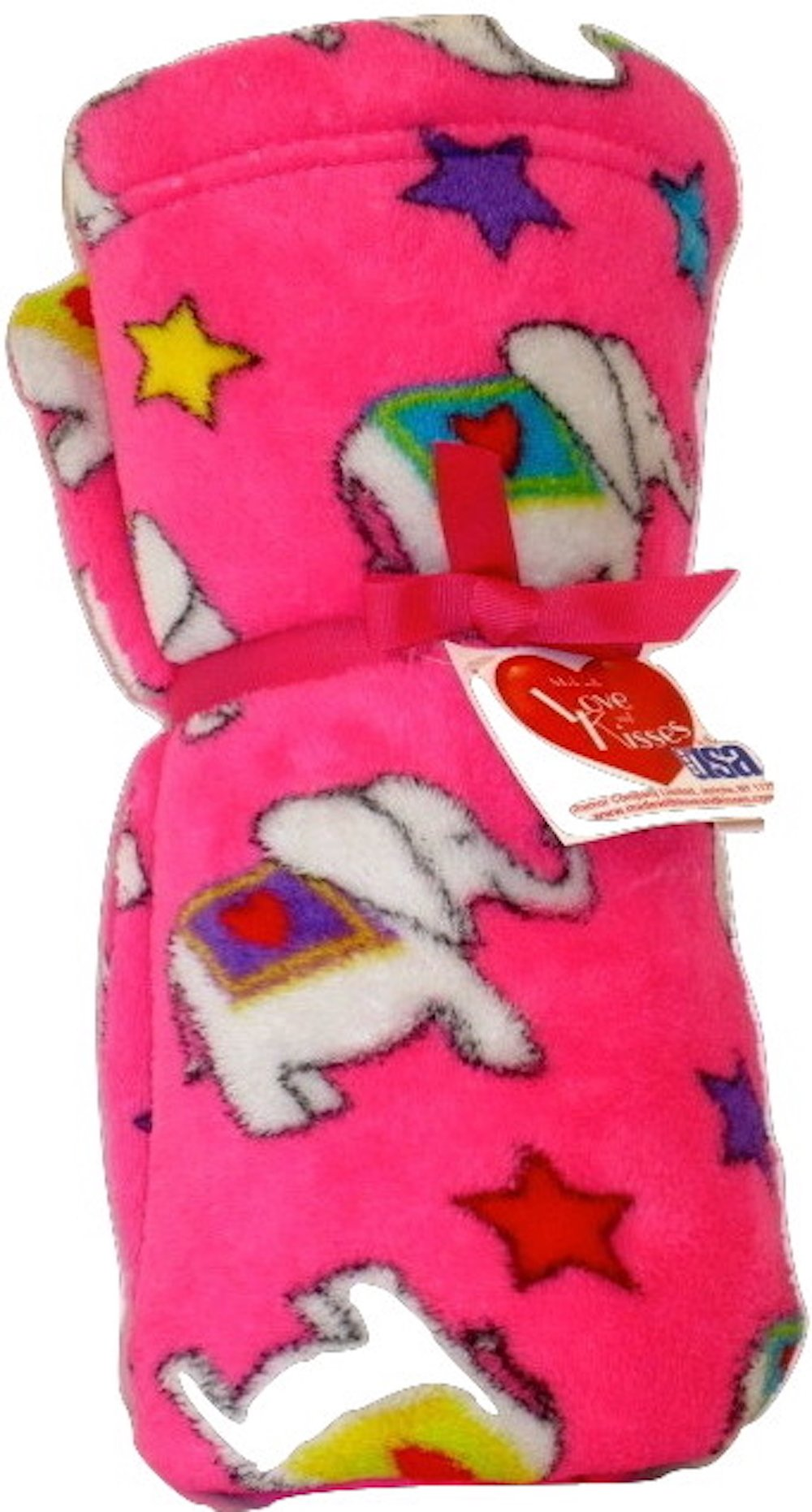 Made With Love and Kisses Super Soft, Super Fuzzy 58'' x 58'' Blanket/Throw (Fuchsia Love Elephants) by Made with Love and Kisses (Image #1)