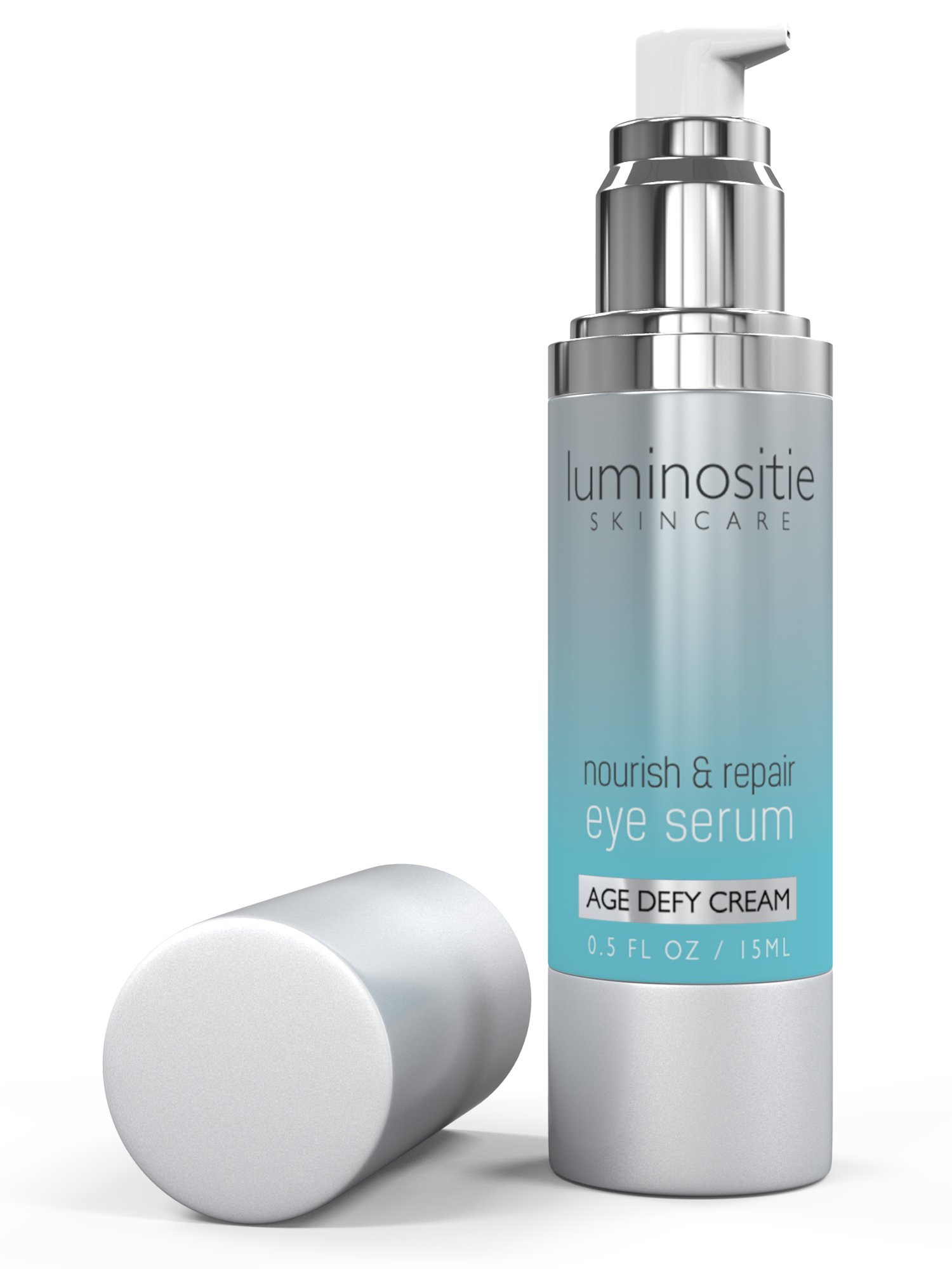 Under Eye Serum for Puffiness, Tight and Hollow Eyes. Repair Treatment for Dark Circles, Bags, Wrinkles and Fine Lines. Natural Anti-Aging Cream for Women & Men by Luminositie - Made in USA by Luminositie (Image #1)