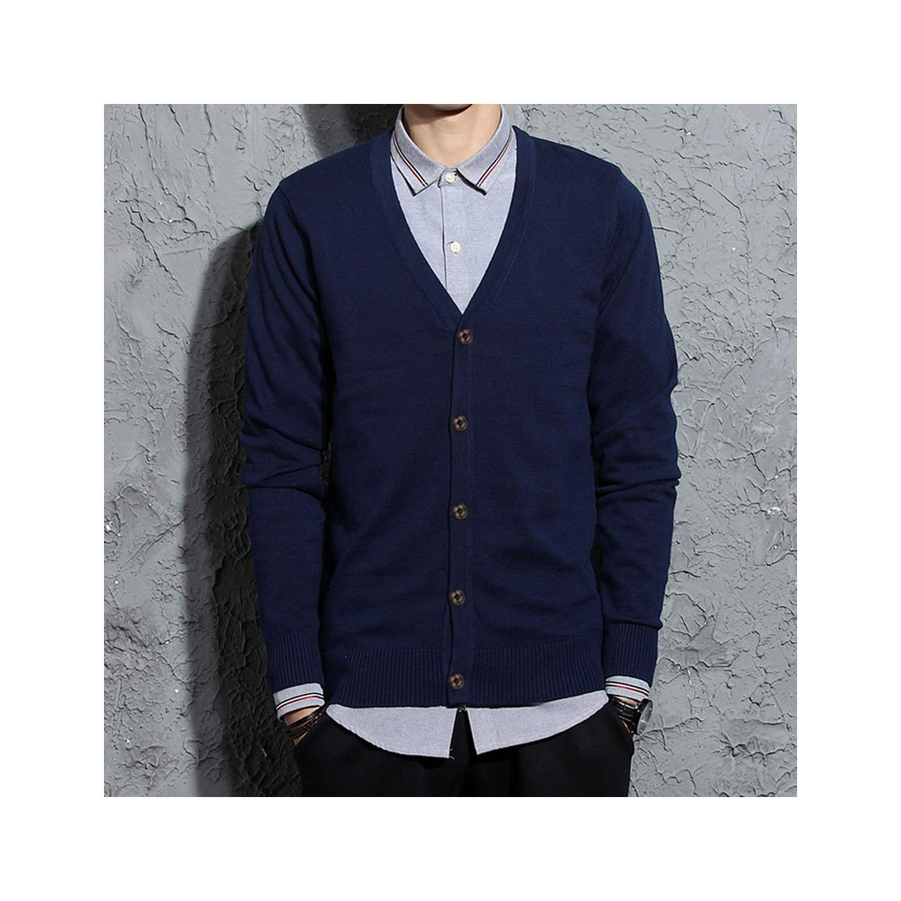 MLULPQ& 100% Cotton V-Neck Cardigan Men Sweater Autumn Winter Mens ...