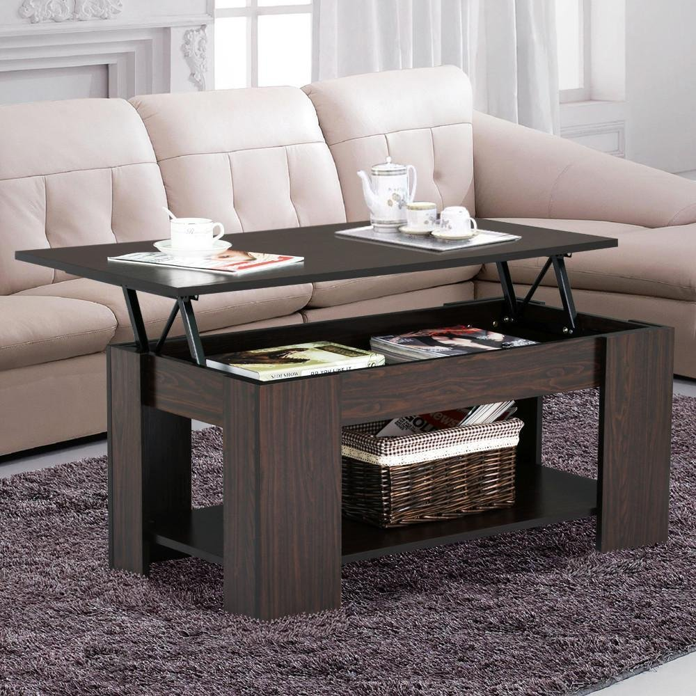 Amazon com yaheetech lift up top coffee table with under storage shelf modern living room furniture espresso kitchen dining