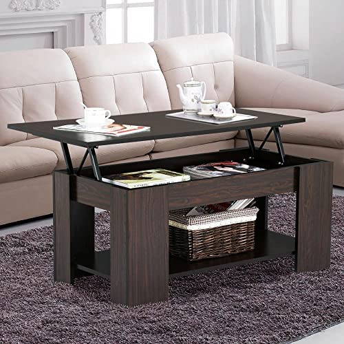 Yaheetech Grade E1 MDF U0026 Iron Lift Up Top Coffee Table W/Hidden Storage