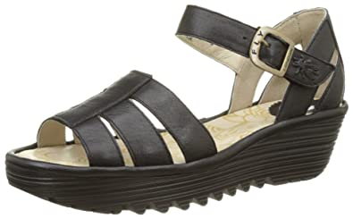 FLY London Women's Rese730fly Flat Sandal, Black Mousse, 37 EU/6.5-7