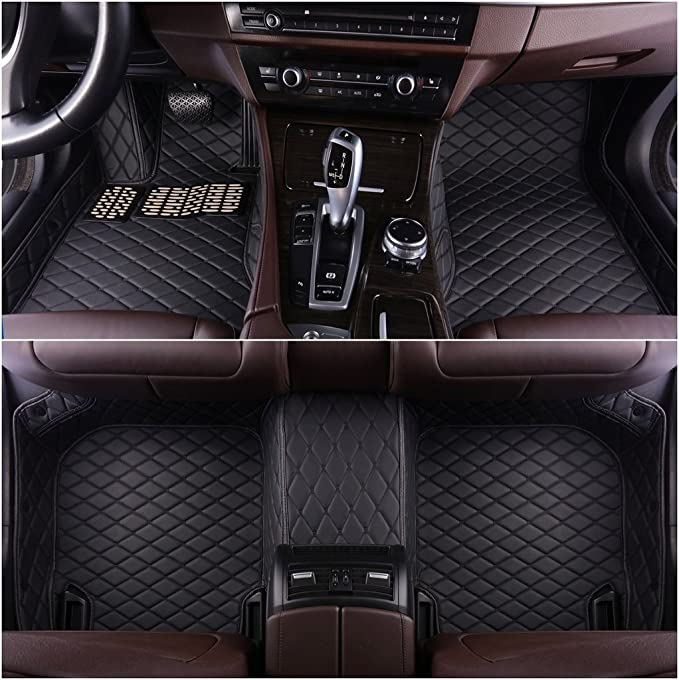 Okutech Custom Fit All-Weather 3D Covered Car Carpet FloorLiner Floor Mats for Infiniti G25 G35 G37 2 door Coupe,Black with Black stitching