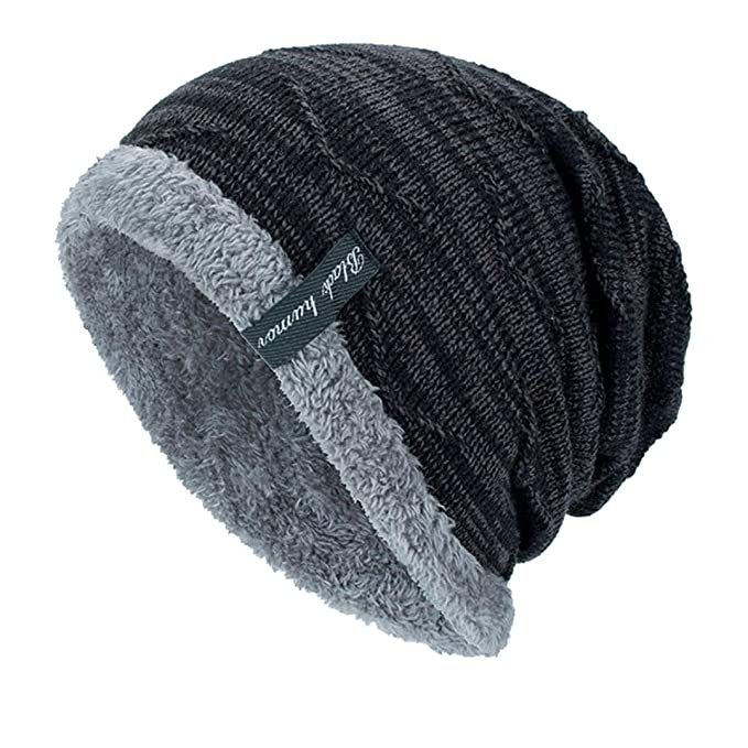 9a0b55ab2c1 AOJIAN Black Humor Unisex Knit Cap Plus Velvet Beanie Cap Winter Warm Hats  (Black)