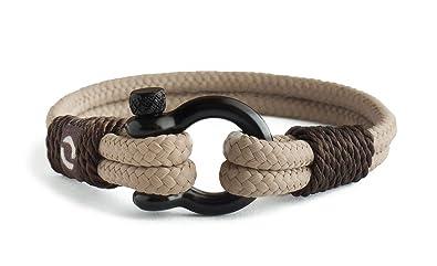 Amazon.com: Pulsera de cuerda para hombre – grillete negro ...