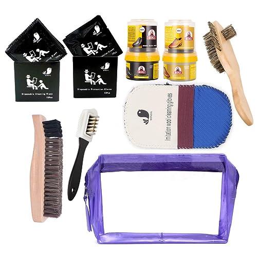 BONSYL Kit de limpieza de calzado, kit de brillo de cuero. Kit de herramientas de limpieza y mantenimiento de cuero.