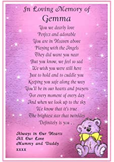 Unique Personalised Grave Card To Our Baby Girl Born Sleeping