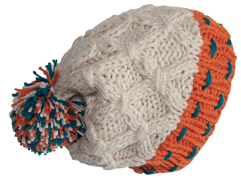 Attleya, Damen, Herren, Mütze, Unisex, Wintermütze, Beige, 100% Acryl, Ski-Mütze mit Bommel