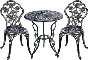 C/G 3 Piece Bistro Set,Outdoor Patio Set,Anti-Rust Cast Aluminum Bistro Table Set for Park Yard Front Porch Furniture(Antique Copper)