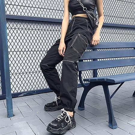 Ckbyth Pantalones Estilo De Calle Pantalones Cargo Mujer Bolsillo Negro Patchwork Pantalon Largo Femme Streetwear Pantalones Jogger De Cintura Alta Amazon Es Deportes Y Aire Libre