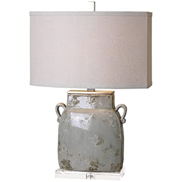 Amazon Com Uttermost 26613 1 Melizzano Table Lamp Ivory Gray Home